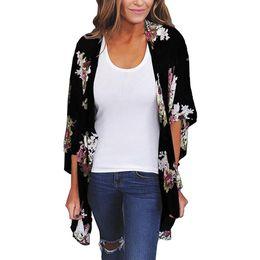 Wholesale chiffon shawl cardigan - 2018 summer Women Blouses Kimono style Chiffon Loose Shawl Print Cardigan Top Cover Up Blouses female clothes