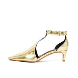 2018 nouveau sunmmer Sxey Golden petit cuir chaussures en cuir bande T mot bande pied anneau bandage Élégant sandales à talons ? partir de fabricateur