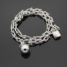 Wholesale Locked Cuffs - 2018 New arrival 316L stainless steel bracelet with pad lock and ball with logo for women and man bracelet in 39cm length wedding jewelry P