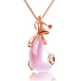 Monili di trasporto di goccia all'ingrosso oro rosa sesso sesso Fox animale quarzo rosa rosa collana opale per le donne ragazze choker da