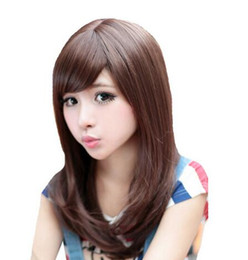 Pelucas anime girl online-Free shipping ++++ Women Beautiful Fashion Long Brown Hair Sexy Girl Cosplay Anime peluca pelucas naturales