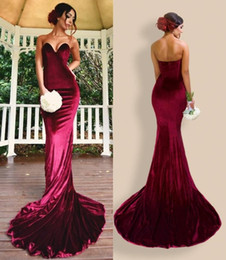 Wholesale Cheap Hourglass - 2018 Burgundy Velvet Mermaid Prom Dresses Sweetheart Zipper Back Long Sweep Train Vintage Evening Gowns Cheap Pageant Party Wear