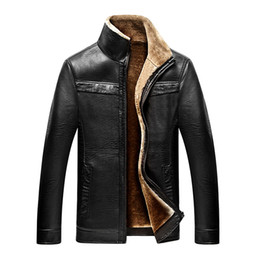 Wholesale Leather Sleeved Jackets Men - Mens Long-sleeved Leather Jackets 2017 Winter New Fashion Business Comfortable Casual Leather Coat Jacket Men Hot Size M-4XL