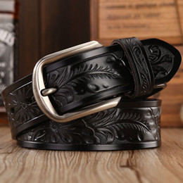 leather flower belts Coupons - famous brand leather girdle straps women fashion designer belt classvintage style pin buckle belts for men cowboys flower