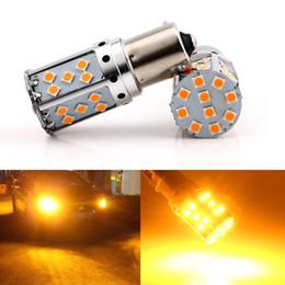 Wholesale 1156 canbus led - 1156 LED Canbus Error free BA15S BAU15S LED P21W S25 35SMD 3030 LED Auto Brake Reverse Lamp Rear Parking Bulbs Amber Yellow