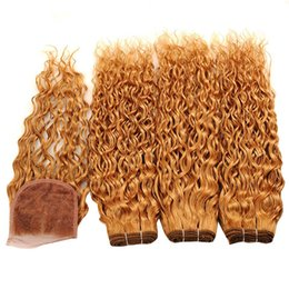 Wholesale 22 wavy blonde hair extensions - 9A Wet and Wavy 4x4 Lace Closure With Bundles Peruvian Virgin Human Hair Water Wave With Closure Color #27 Honey Blonde Hair Extensions