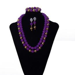 2 file viola perla donne collana africana di costume nigeriano perline gioielli da sposa gioielli africani perline set di gioielli da imitazione gioielli reali fornitori