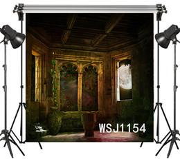 винтажные фотографии Скидка Оптовая полиэстер винил Хэллоуин старинные замок балкон мечтательный фонов фон для фотографии студии фон фото реквизит