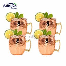 Wholesale Free Mules - 4 Pcs Free Shipping 550ml Copper Plated Barrel Hammered Moscow Mule Mug Coffee Cup Beer Cup Set Of 4