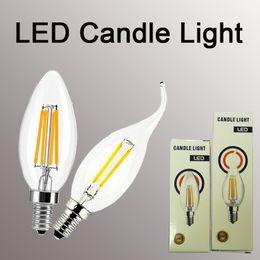Lâmpada de filamento vela E14 2/4 / 6W Edison COB Filamento Retro LED Light Candle / Flame Bulb Lamp de Fornecedores de lúmens velas