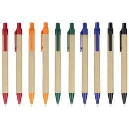 Bolígrafo de plástico online-QSHOIC bolígrafo de papel promocional bolígrafo ECO 100 unids ENVÍO GRATIS Clip de plástico Bola Eco Papel