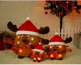 muñecas de santa claus Rebajas Kawaii Peluche Simulación Santa Claus Elk muñeca Dibujos animados Animales de peluche Boda Muñeca Regalos para niños Muñeca de Navidad Los juguetes pueden brillar intensamente cantando