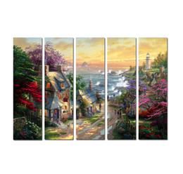 cuadros de thomas kinkade panel Rebajas 5 Unidades Thomas Kinkade Paisaje Pinturas Al Óleo Arte de Alta Calidad HD Impresión En La Decoración de la Lona Arte Moderno Arte En Casa Sala de estar Decoración