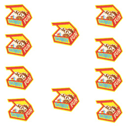 boxes for clothes Coupons - 10 PCS Funny Box with Doughnut Patches for Clothing Bags Iron on Transfer Applique Kids Patch for Jeans DIY Sew on Embroidered Patches