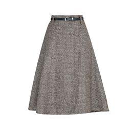 Wholesale Korean Slim Skirt - 2017 Autumn Winter High Waist Wool Plaid Skirt Women Korean Knee Length Office A-line Skirt Slim Fashion Gray Faldas Mujer