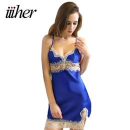 07805eba64c iiiher Sexy Women Silk Satin Plus Size Night Dress Sleeveless Nighties Lace  Sleepwear Nightgown Nightdress Nightwear For Ladies