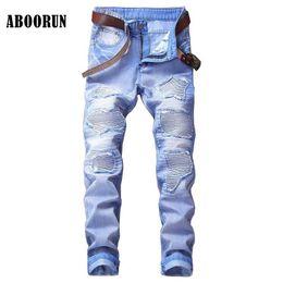 Wholesale Motor Jeans - ABOORUN Fashion Mens Biker Motor Jeans Blue Distressed Pleated Hole Jeans Multi Colors YC1074