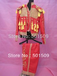 Wholesale Spanish Suit - new red embroidery mens medieval suit stage performance Matador suit spanish