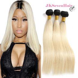 1B-Blonde Droite Européenne Russe Extensions de Cheveux Humains 3 PCS 1B-613 Brésilienne Péruvienne Indien Ombre Cheveux Bundles Avec Haute Qualité ? partir de fabricateur