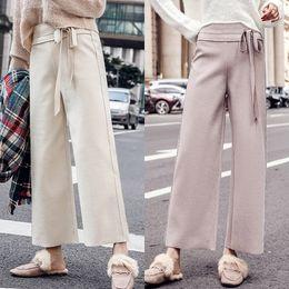 d8f39c4109 pantalones de lana Rebajas Pantalones de pierna ancha de otoño e invierno  Pantalones de cintura alta