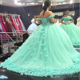 Wholesale Prom Dresses Mint Color - Elegant Mint Green Quinceanera Dresses 2018 Sweetheart backless ball gown hand made flowers prom make up dress Sweet 16 Dress