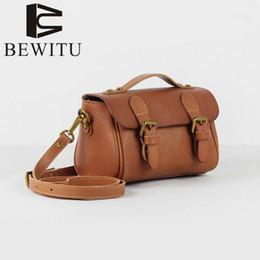 Wholesale elegant mature woman - BEWITU Retro Lady Single Shoulder Bag Dyed Plant-tanned Leather Skewed Across Japan Lady Elegant Mature Young Style Mini Handbag