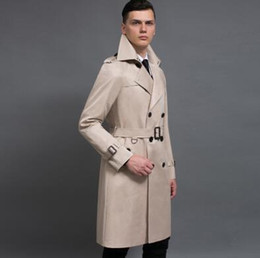 Wholesale Men England Coat - Wholesale- Spring autumn double breasted long trench coat men overcoat mens clothing england outerwear casaco masculino european big size