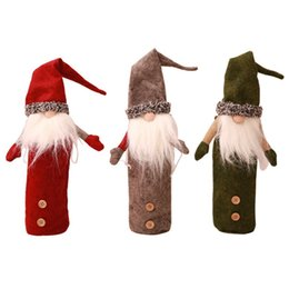 Argentina 2018 Christmas Forest Old Man Long Beard Doll Botella de vino tinto Bolsa Christmas Wine Cover Decoraciones de Navidad Santa Claus Cubiertas de vino Suministro