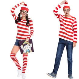 livro de trajes Desconto Adultos Homens Senhoras Wenda Wenda Waldo Traje Personagem Vermelho Branco Roupa Livro Semana Fancy Dress Shirt Hat Óculos