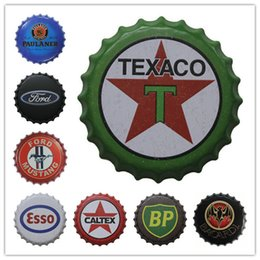 Wholesale Signs Decor - Bacardi Paulaner Ford Texaco Esso BP Beer Bottle Cap Vintage Tin Signs Bar Food Shop Room Wall Decor Poster Signs for Bar