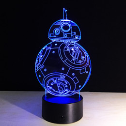2019 le luci scandinave dell'ufficio principale BB8 Sphero Droid 3D Night Light BB-8 Robot Action Figure Toy Lamp 7 colori che cambiano
