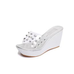 Wholesale Transparent Platform Heels - Summer Hot Transparent Sandals Women Pearl Rivet Design Roman Gladiator Sandals Woman Beach Slippers Platform Wedges Shoes 3641