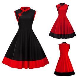 Elégant Style Chinois Vintage Femmes Années 50 Style des Années 60 Nœud Sans Manches Party Dress Genou Longueur Robe D'été FS3803 ? partir de fabricateur