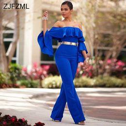 ab93fd05b73d ZJFZML Royal Blue Slash Collo Sexy Party Tuta da donna Completo Flare  Sleeve Ruffles Pagliaccetto Primavera fuori dalla spalla Backless Overall