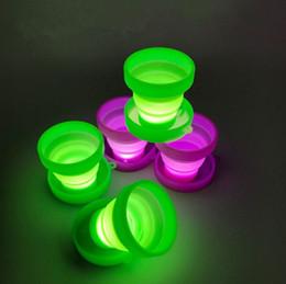 2019 ha portato i vasi illuminati Nuova vendita calda LED pieghevole tazza gel di silice Gargle Cup Camping luce Incandescente tazza Piccola pentola T4H0321 ha portato i vasi illuminati economici