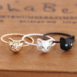 Wholesale pussy size - Women Ring Pussy Cat Free Size Rhinestones Fashion Jewelry Gift sale 3PC New Cute Popular Hot Golden Black Silver