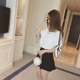 6187e9e5bf7 Summer Women White Chiffon Blouse Casual Simple Loose Shirt With Bow Tie  Sleeve Lace-up Leakage Shoulder Lady Elegant Shirt Tops