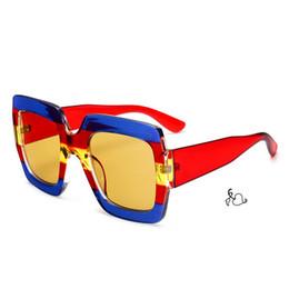 Wholesale European Sunglasses - 2018 burst red square sunglasses trichromatic translucent retro sunglasses European and American fashion luxury sunglasses UV400