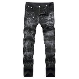Wholesale Trousers Men Rap - NEW Night Club Button Print Rap Biker Jeans Men Moto Denim 3D Skull Jeans Black Trousers 28-40 High Quality Cotton Plus Pants