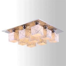 Accesorio de techo cuadrado online-Moderno 1/4/6/9/12 luces arte luminaria loft lámpara de techo E27 luces de techo rectangulares de acero inoxidable Luminaria sala de estar