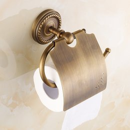 Wholesale Brass Toilet Tissue Holder - Paper Holders Antique Brass Toilet Roll Tissue Holder Bath Rack Wall Mounted Bathroom Accessories Black WC Paper Holder