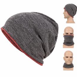 strick-ski-hüte Rabatt Beanie für Männer Frauen Baggy Skull Cap Slouchy Winter Warme Mütze Reversible Knit Ski Kopfbedeckungen Multifunktions 3 in 1 Schal Gesichtsmaske