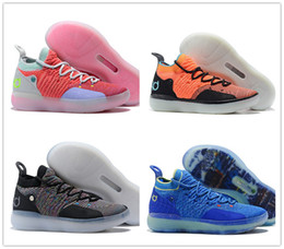 12c997b41c99 2018 Hot KD 11 Mens Basketball Shoes Orange Emoji Paranoid EYBL Multi-Color  White Black Gold Ice Blue EP Athletic Sport Sneakers Us7-12