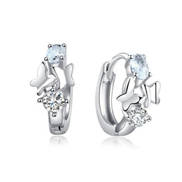 Aros mariposa aretes online-Toda la ventaFashion Wholesale CZ Fine Earrings Crystal Cute Butterfly brincos Silver Color Elegant Hoop Earrings For Women Jewelry