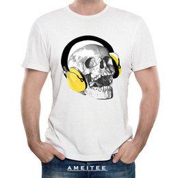 New Summer Fashion Men T-Shirt Music Forever! Stampa T-Shirt Funny Skull  Design Top Hipster Cool Man Punk Uomo Manica corta disegni della maglietta  punk ... 049dcb8e6fe5
