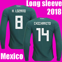 Wholesale Long Sleeves Football Jersey - FULL LONG SLEEVE MEXICO SOCCER JERSEY 2018 world cup CHICHARITO LOZANO DOS SANTOS HERRERA LAYUN MARQUEZ GUARDADO Mexico football shirt 2018