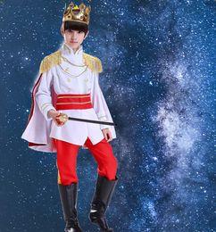 trajes encantados para o dia das bruxas Desconto Príncipe Encantador Criança Traje de Halloween Cosplay Meninos Príncipe Encantador Fancy Dress Traje Kid Kingdom Líder Rei Cosplay