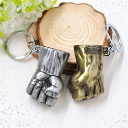 Wholesale Fist Pendant - The Avengers Hulk Fist Keychain Gold And Silver Colors Zinc Alloy Keychain Hand Key Rings Alloy Pendant For Bag As Gift YYA1248