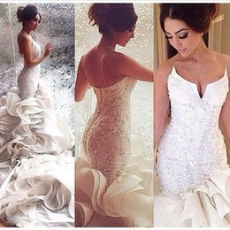 Wholesale strapless mermaid dresses - 2018 Sexy White Strapless Mermaid Wedding Dresses Lace Up Organza Chapel Train Lace Appliques Bridal Gowns Custom Made Plus Size Dresses