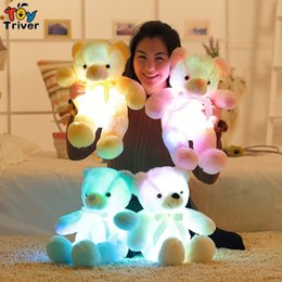 Wholesale Deco Kids - Triver Toy glowing luminous led light up toys stuffed plush bear doll cushion pillow birthday gift Kids baby girl home deco Gift